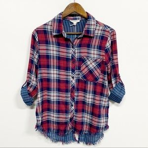 beachlunchlounge Red Plaid Cuffed Distress Flannel